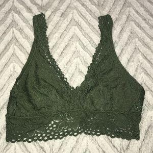 Aerie Moss Green Lace Bralette - Size Medium